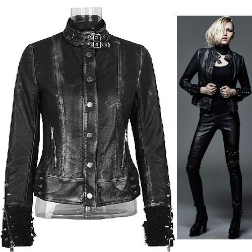 eb29673ed Women Metallic Black Faux Leather Spike Studded Punk Biker Jacket ...