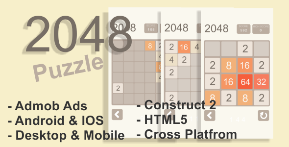 2048 Puzzle - HTML5 Desktop & Mobile Game + AdMob | Html Design