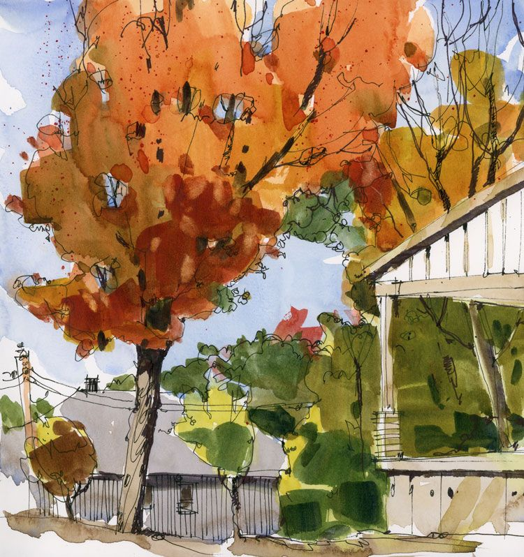 Tree: In my neighbourhood there's a house being built and in the empty part of the lot there's a spectacular tree that's at its autumn peak right now. So perfectly paintable, or so I thought, until I tri...