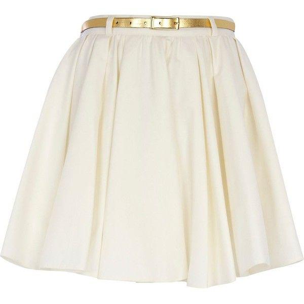 River Island Cream Belted Skater Skirt ($19) ❤ liked on Polyvore