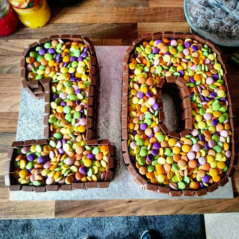 Number 10 Cake Kinda Bars And Smarties 10 Birthday Cake Cupcakes For Boys Boy Birthday Cake