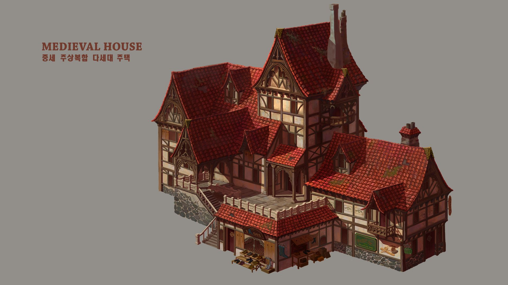 Artstation Medieval House Elwie Medieval Houses Minecraft