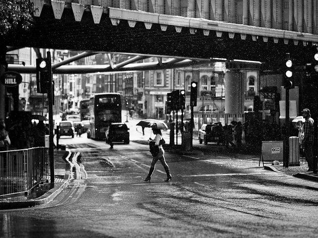 Gentle summer rain london bridge black and white street photography