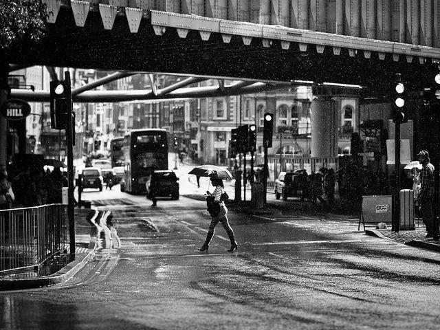 Gentle summer rain london bridge black and white street photography
