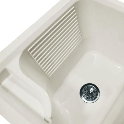 Foremost Keats 24 In. Laundry Vanity In White And ABS Sink In White And  Faucet Kit