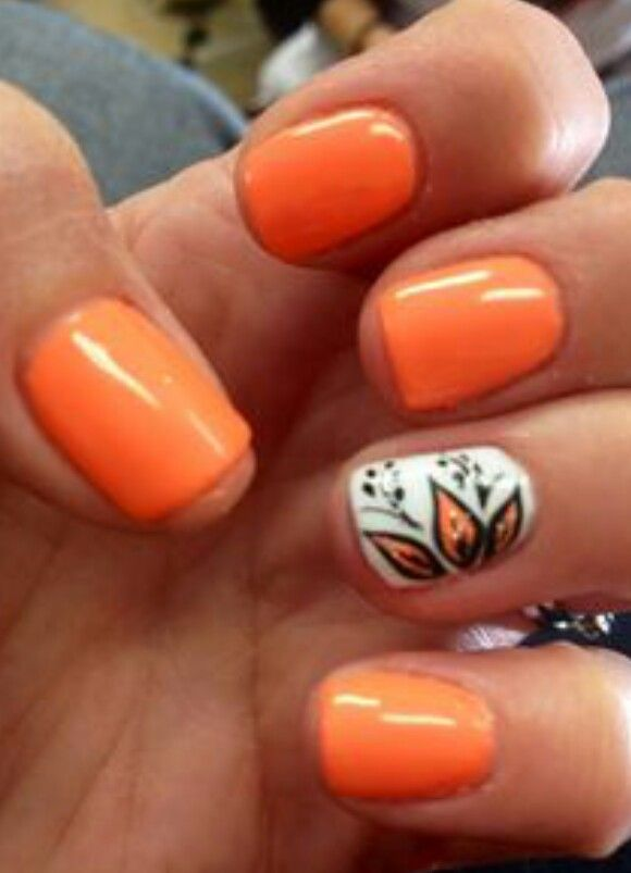 Half Flower Cute Nail Art Designs Orange Nail Art Cute Nail Art