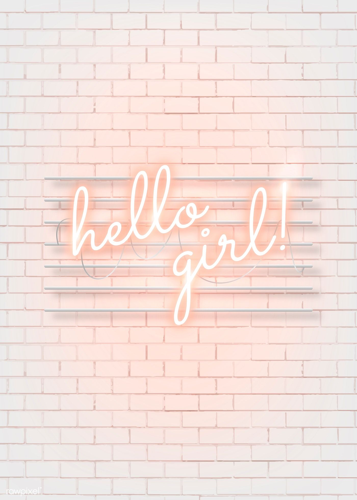 Hello girl neon word on a white brick wall vector | premium image by rawpixel.com / manotang
