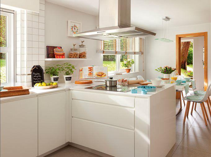 15 cocinas peque as y muy bonitas cocina blanca for Cocinas blancas pequenas
