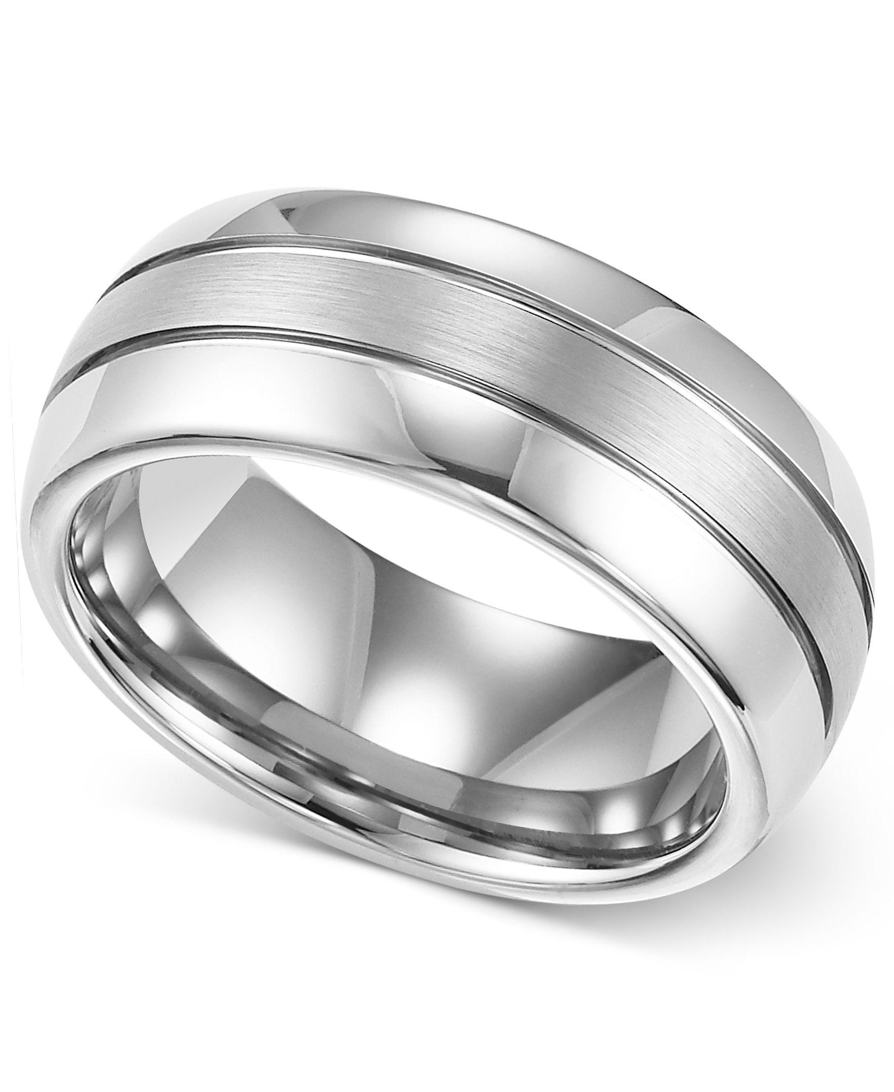 Triton Men's Ring, 8mm White Tungsten 3Row Wedding Band