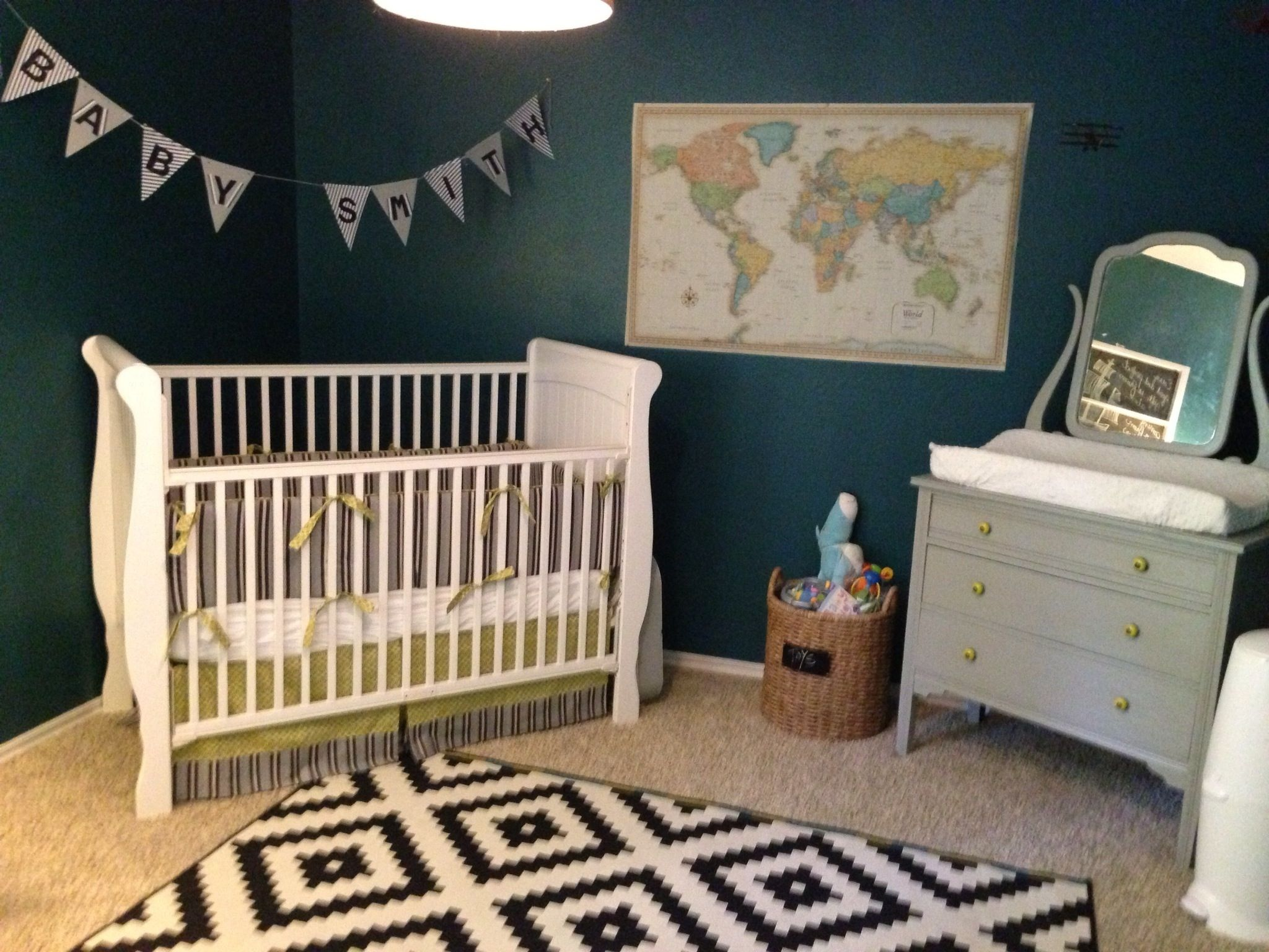 "Travel Themed Bedroom For Seasoned Explorers: Welcome To Our Sweet Baby Boy's Teal And Citron ""adventure"