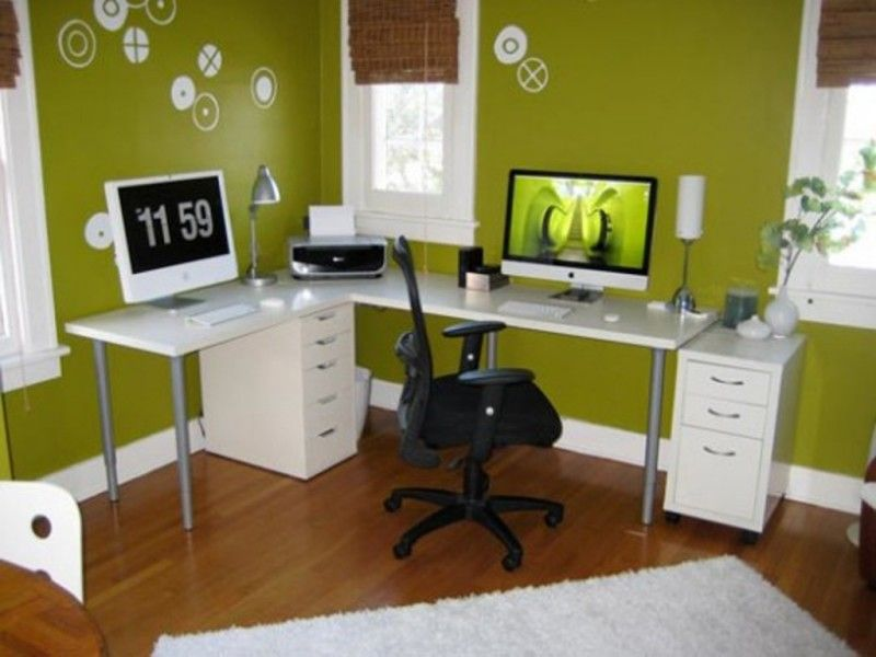 green office ideas awesome. Home Office Decorating Ideas Small With Green Wall Color And White Rugs Awesome I