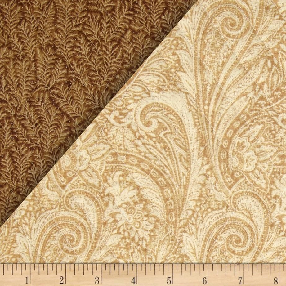 Quilted Fabric Lauren Double Sided Quilted Paisley Tan Quilted Fabric Fabric