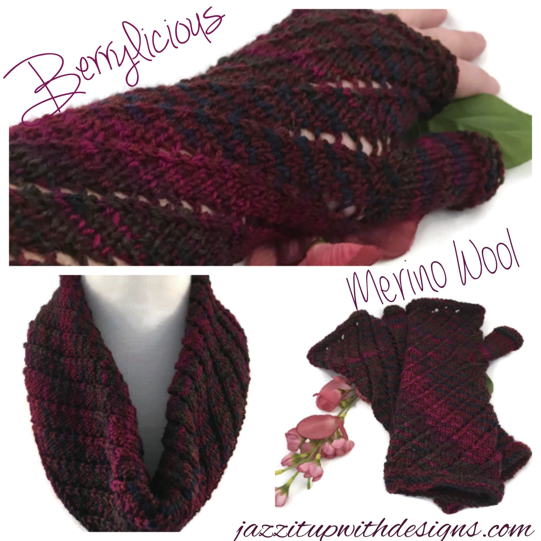 Infinity Scarf and fingerless glove set berry wine merino wool twisted pattern