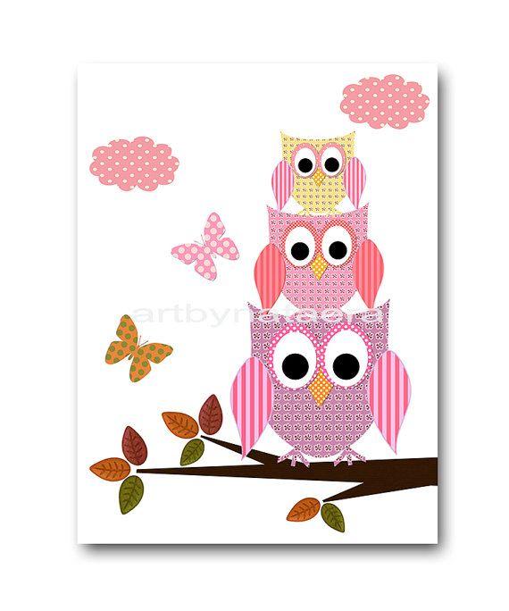 Pink And Orange Baby Room Decor Owl Nursery Art Print Kids Wall
