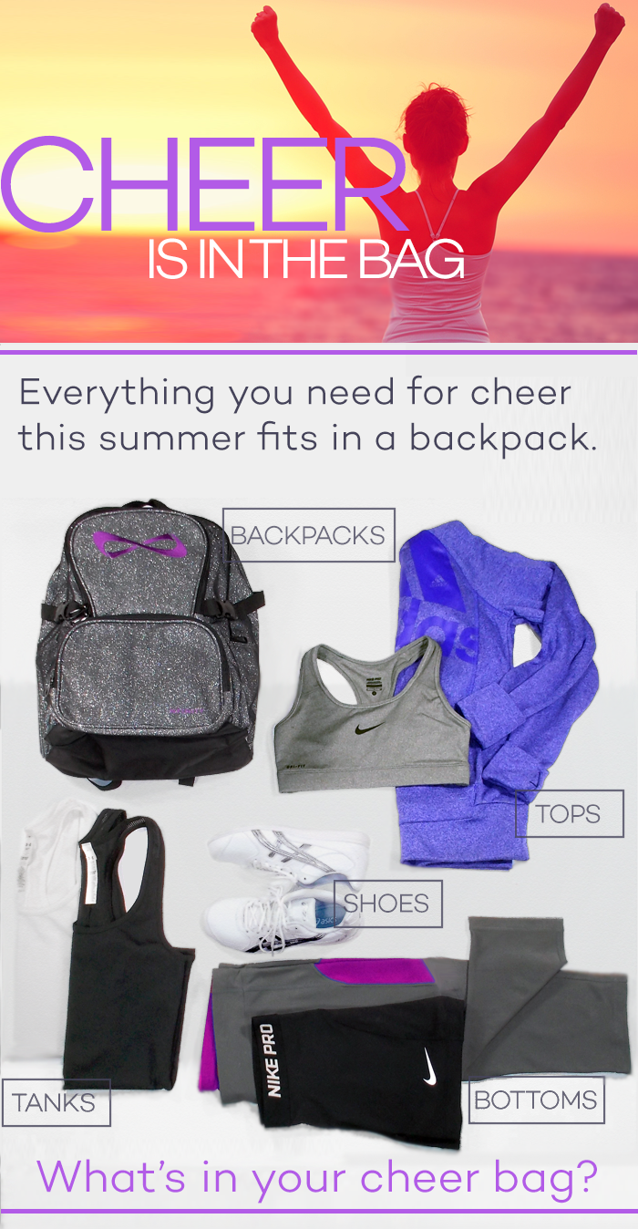 Cheer bags, cheer shoes, practice tanks, and so much more. Get everything you need for this Cheerleading season from your cheer experts at Cheer and Pom!