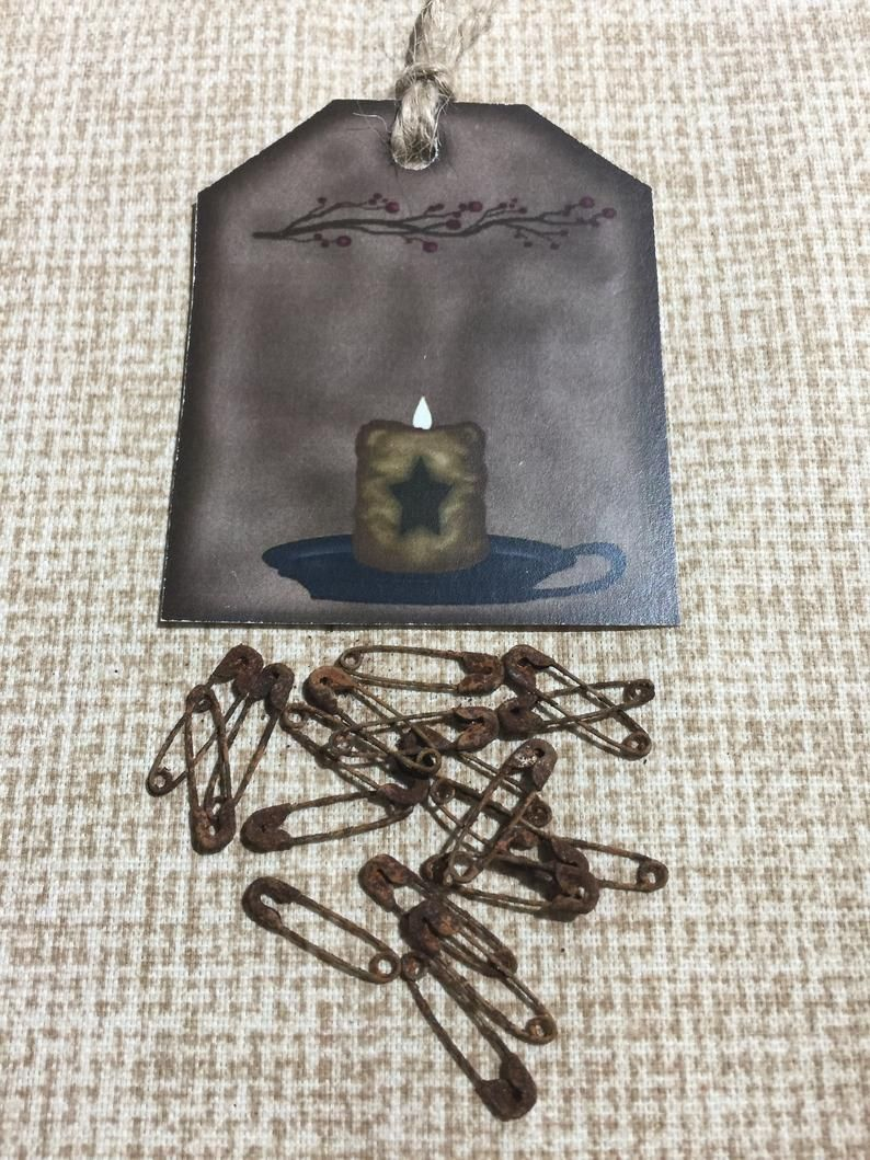 Rusty Mini Safety Pins ( 25 pieces ) Embellishments