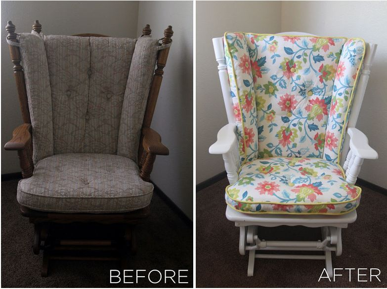Before and After Nursery Glider Rocker | Glider redo | Pinterest | Bebe