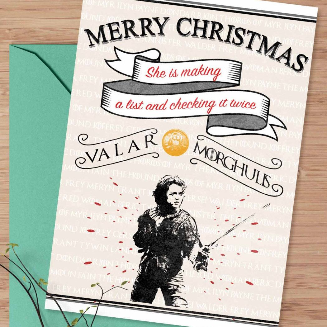 New To Designgenesstudio On Etsy Christmas Greeting Card Arya Stark