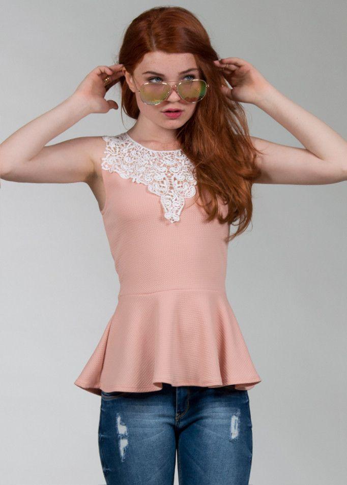 BLUSA PEPLUM ENCAJE SHASA | Moda | Pinterest | Encaje, Blusas y Ropa ...