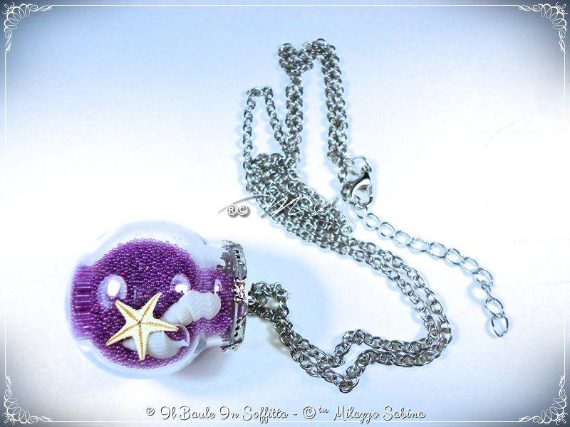 Collana in argentone con Ampolla in Vetro, mini stella marina e mini conchiglie , by Il Baule In Soffitta, 6,00 € su misshobby.com