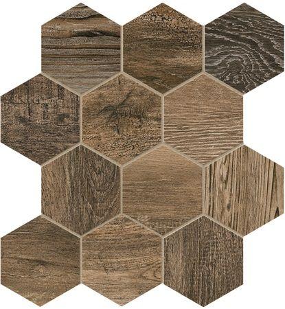 Floor Tile Barn Wood Brown Hexagon