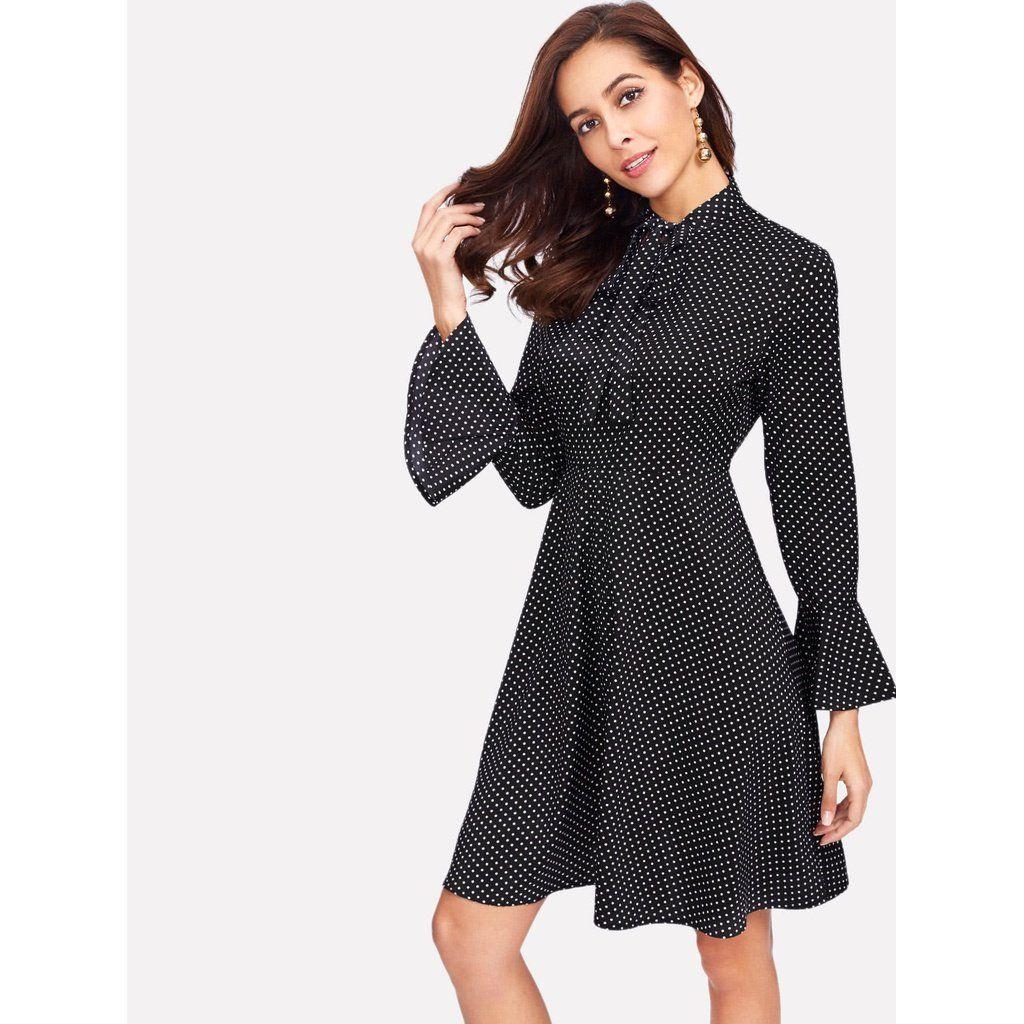 Tie neck bell cuff polka dot dress summer fashion pinterest