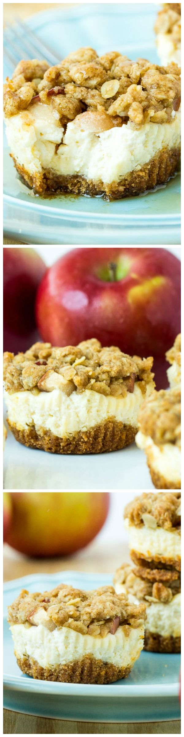 Mini cheesecakes topped with apples, peaches, or other fruit and crunchy streusel: one of my favorite fall recipes and cheesecake combined!
