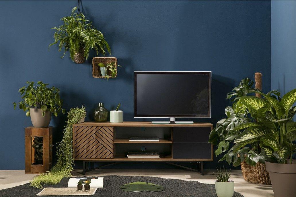 Meuble Tv Ethnique Edea Bois Et Noir Pas Cher Meuble Tv But Iziva Com Meuble Tv Idee Deco Appartement Meuble Noir Et Bois