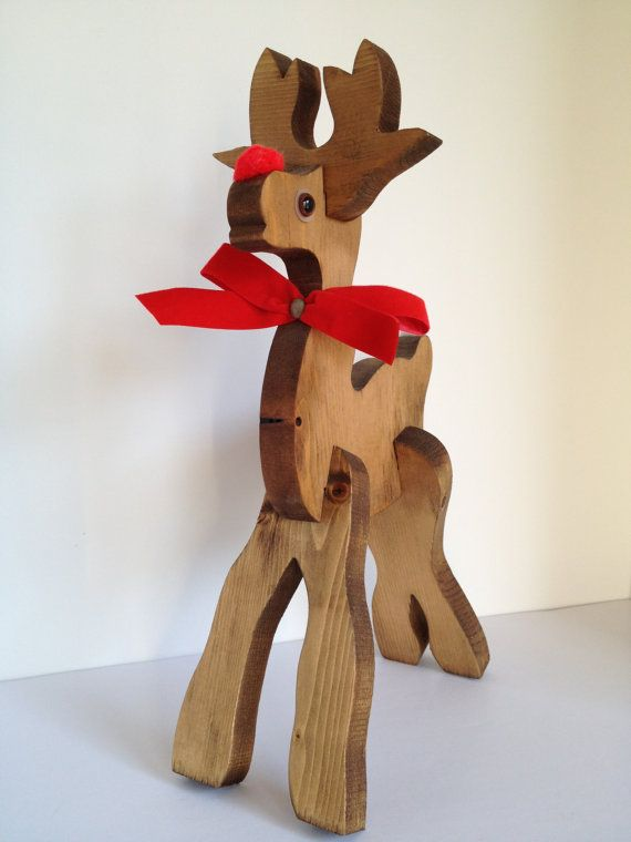 Vintage Wooden Christmas Reindeer 3d Puzzle 9 99 Via Etsy Wooden Reindeer Decorative Holiday Pillows Christmas Reindeer