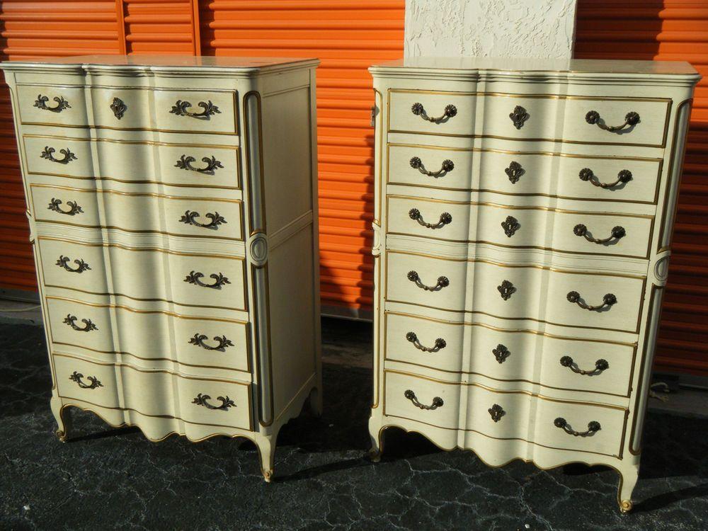 Vintage Pair Of Painted John Widdicomb Tall 6 Drawer Dressers
