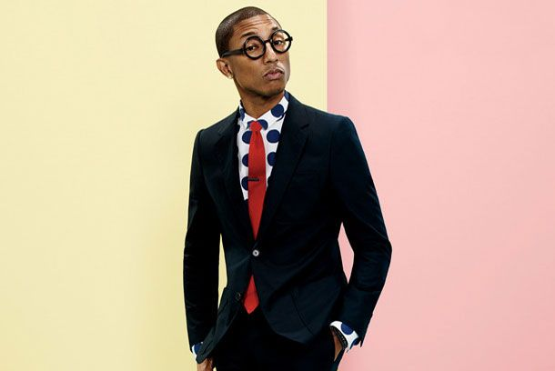 Pharrel for GQ. :) Love the ultra graphic colors and the giant polka dot shirt. :)