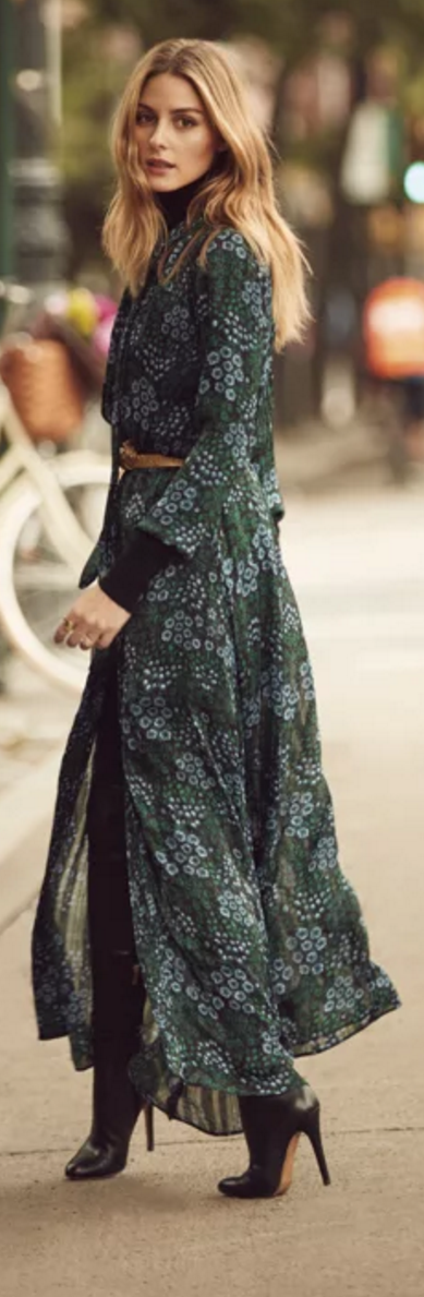 66d742a20f087 Who made Olivia Palermo's blue floral maxi dress, gold jewelry, brown belt,  and black turtleneck sweater?