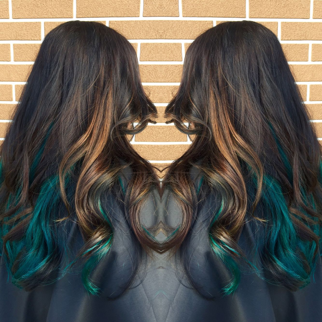 Teal hair teal peekaboo pravana green blue balayage caramel hair