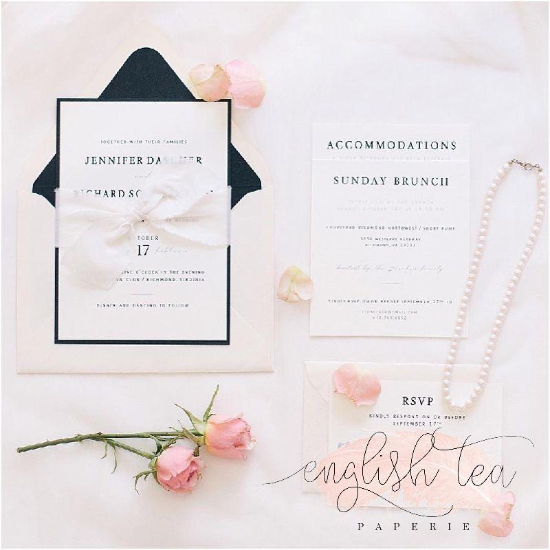 black tie blush ivory wedding invitations with next day brunch