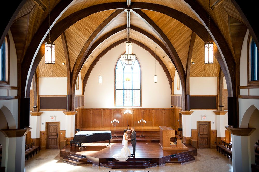 Wedding first look at Lee University Chapel in Cleveland