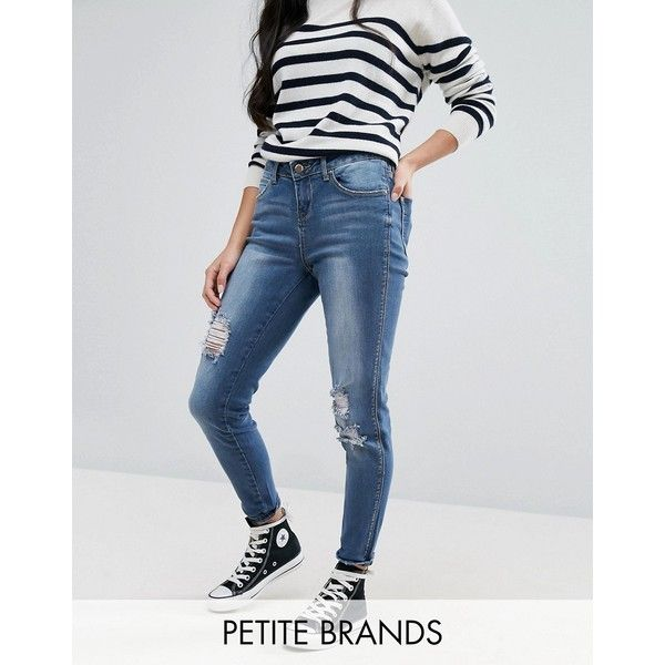 New Look Petite Distressed Skinny Jeans (£43) ❤ liked on Polyvore ...