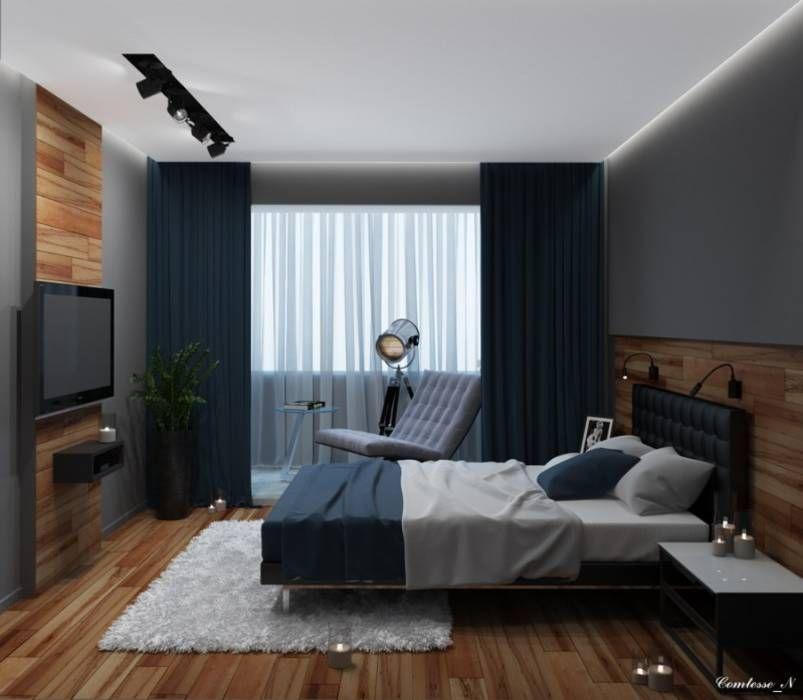 Hier Ein Junggesellen Schlafzimmer Von Natali Vasilinka Mit Navy Akzenten,  Super Stylisch!