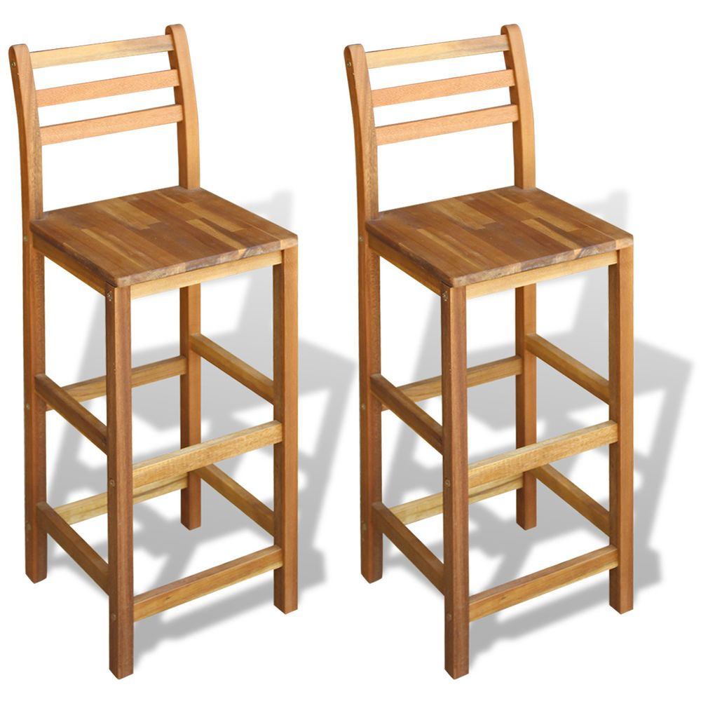 Acacia Wood Counter Stools Set Of 2 Bar Chairs Oil Finished