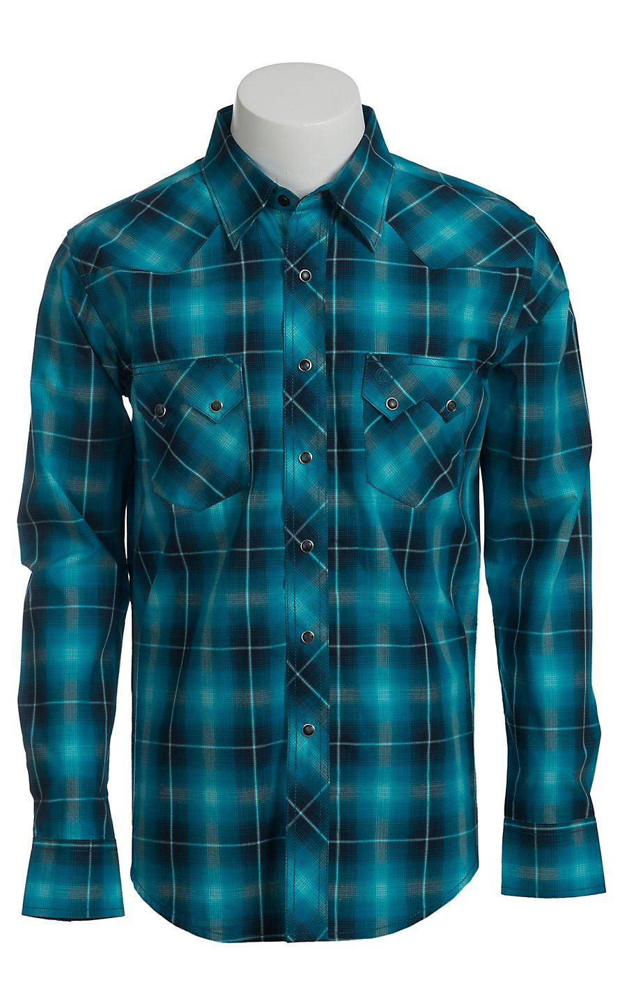 127ff96ee0 Wrangler Men s Vintage Turquoise and Blue Plaid Western Shirt ...