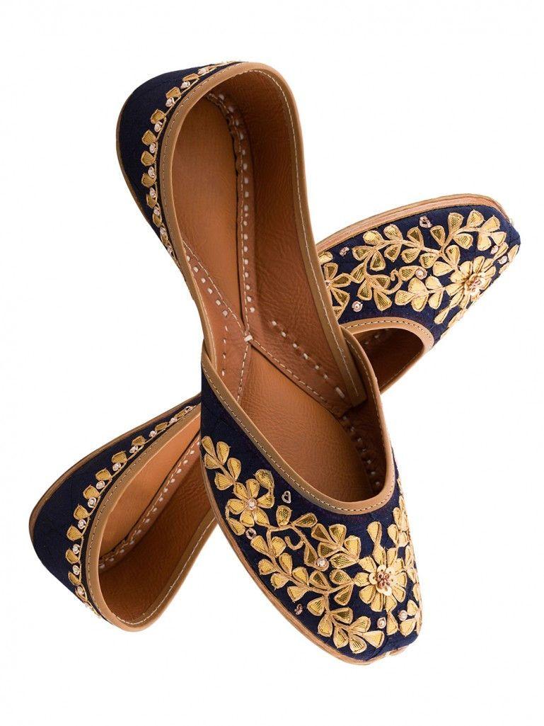 Navy blue hand embroidered leather mojari the loom footwear