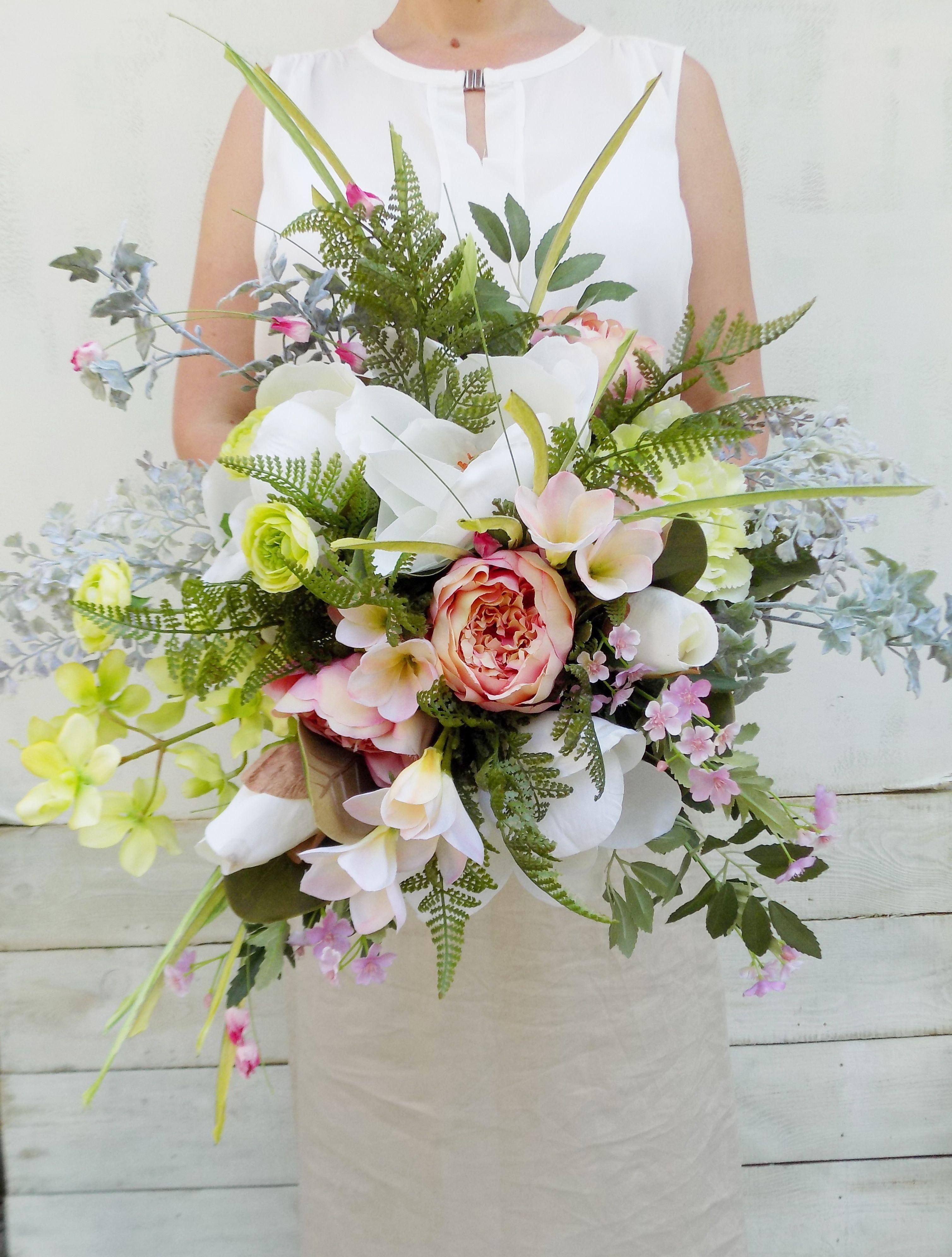 Ivory and dusky pink cascading boho bridal bouquet