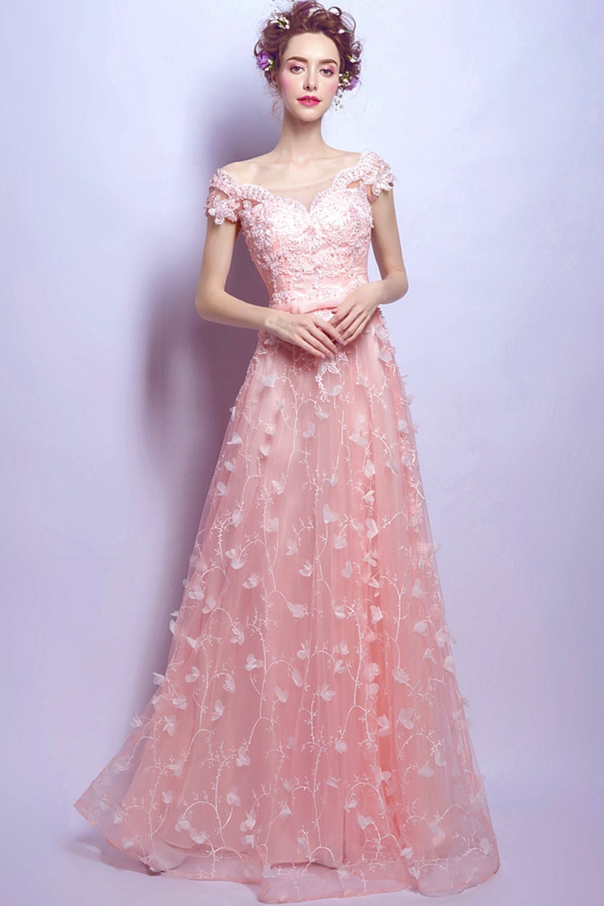 new pink lace cap sleeves long senior prom dress #fashion #promdress ...