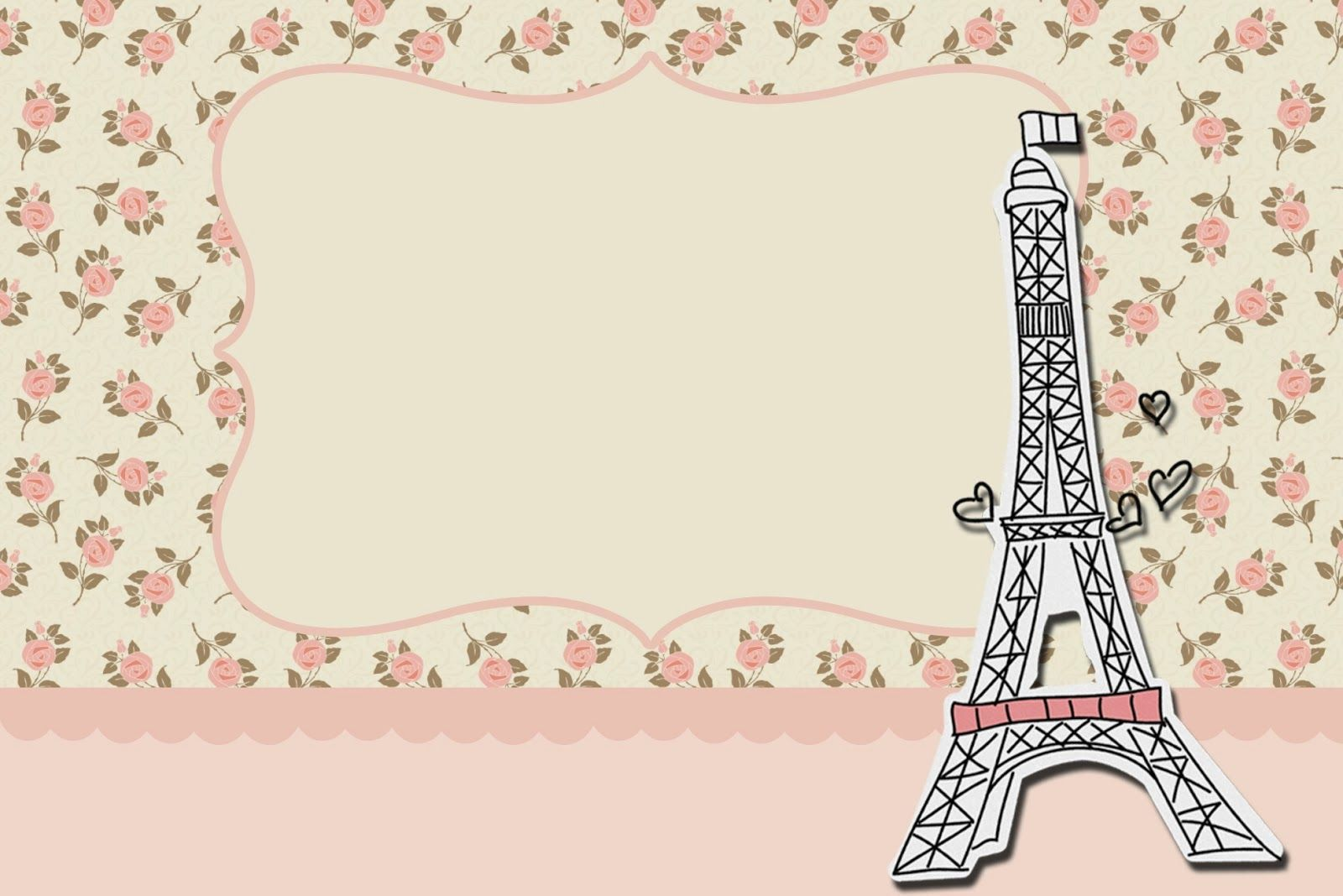 Paris With Roses Free Printable Cards Or Invitations Oh