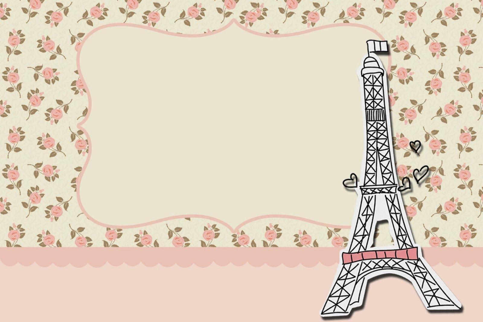París Con Rosas: Invitaciones Para Imprimir Gratis