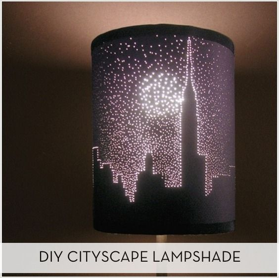 Diy Starry Night Cityscape Lampshade