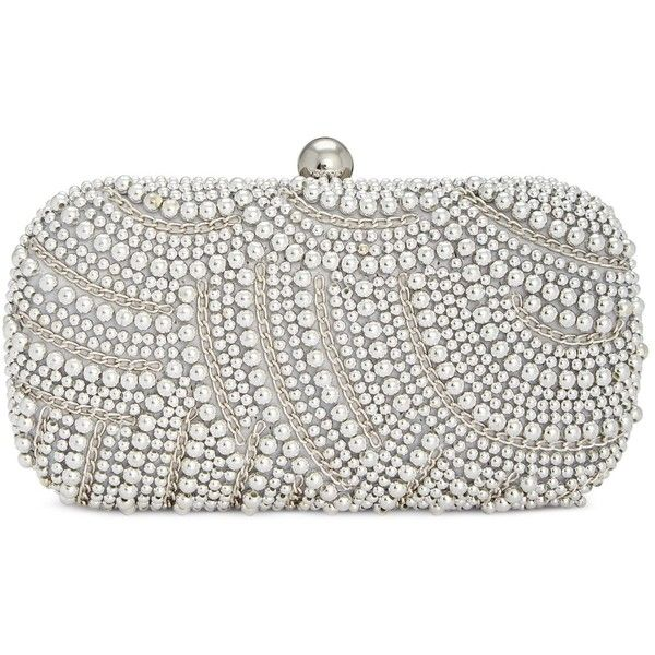 e195cbc5892 Inc International Concepts Jena Beaded Clutch, ($97) ❤ liked on Polyvore  featuring bags, handbags, clutches, silver, chain handbags, beaded purse,  ...