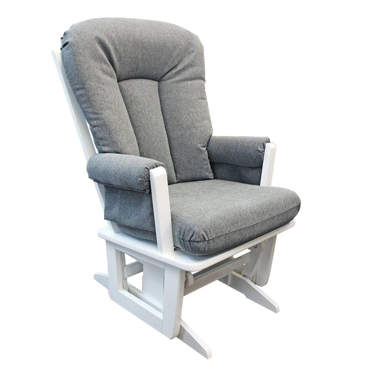Chaise Bercante Bois Blanc Et Tissu Gris 3128 Dutailier Clement Modern Gliders Recliner Chair White Wood