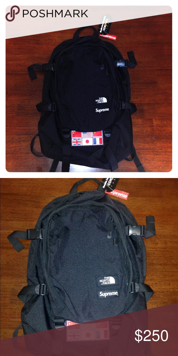 NWT North Face SUPREME backpack NWT SUPREME North Face colab backpack  All  black with 3M reflective flag patch at bottom. Sold out in less than a  minute on ... 11cf7c33a0d5