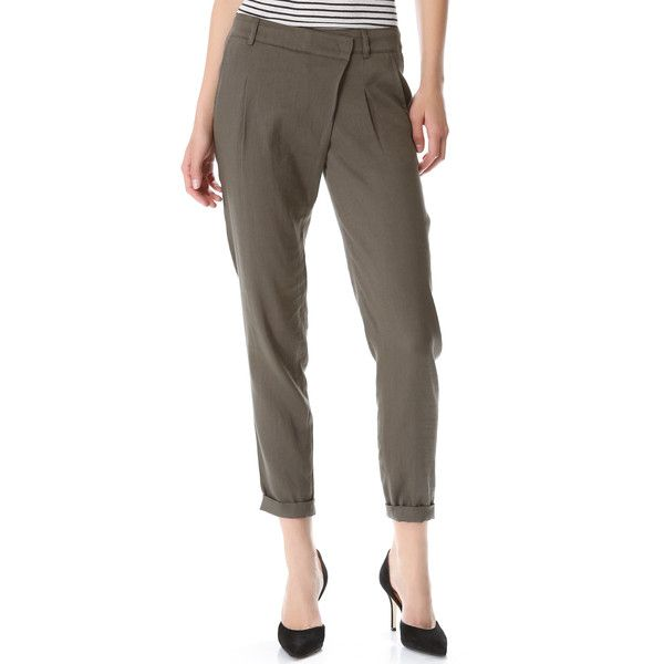 Vince Crossover Linen Pants ($245) found on Polyvore