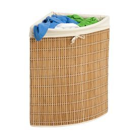 Bamboo Wicker Corner Laundry Hamper With Canvas Liner Product